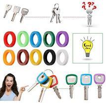 40 Pack Silicone Key Cap Tags,Plastic Key Identifier Rings,Key ID Rings,4 Pcs Ea image 3