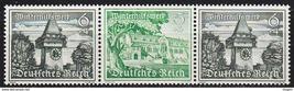 1939 Clock Tower and Goslar Strip of 3 Germany Stamps Catalog Mi W137 MNH