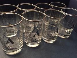 "8 VINTAGE Mid Century Silver Rim &  ""A""  Script Monogramed Drinking Glas... - $15.00"