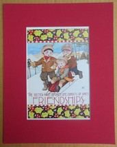 "Mary Engelbreit Print Matted 8 x 10 ""Friendship"" Boys Sledding - $16.40"
