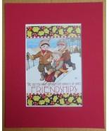 "Mary Engelbreit Print Matted 8 x 10 ""Friendship"" Boys Sledding - $16.40"