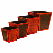 Bamboo Square Decorative Planters (Set Of 4) - $87.18