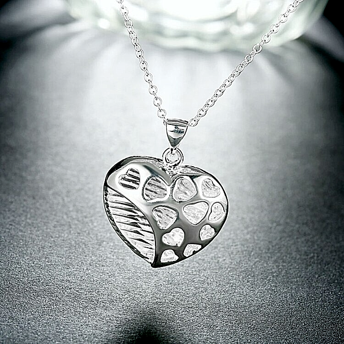 Primary image for Open Heart Pendant Necklace 925 Sterling Silver NEW