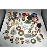Vintage Lot Christams Theme Costume Jewelry Brooches & Earring Pairs C2843 - $43.37