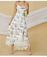 Floral Nautical Seashell Print Spaghetti Strap Eyelash Lace Trim Maxi Ca... - $59.99