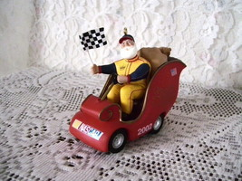 2002 Hallmark Ornament Nascar Racking Sleigh Santa Claus Frosty's Garage - $16.79