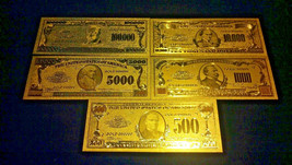 ~AMAZING SET~GOLD Rep*Banknotes $100,000-$10000-$5000-$1,000-$500 FREE S... - $15.33