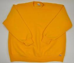 Vtg 90's RUSSELL ATHLETIC Sweatshirt Crew neck XL Solid Yellow Made in USA - $33.66