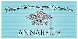 Class of 2017 Graduation Diamond Hat Turquoise Banner Personalized Backdrop - £16.54 GBP