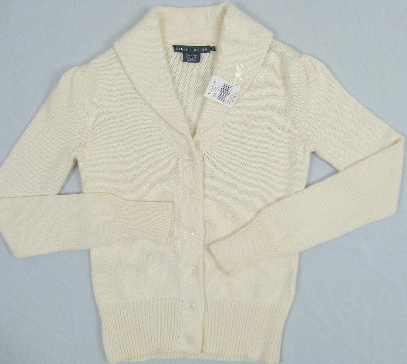 Cream Pima Cotton M Medium NWT Women/'s Polo Ralph Lauren V-Neck Sweater