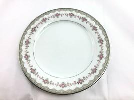 1 Noritake Glenwood Dinner Plates Platinum Trim #5770 Vtg Wedding Shabby Roses - $10.88