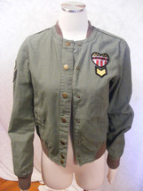 Bethany Mota Army Green Bomber Jacket with Military Look Patches -  JUNI... - $19.39