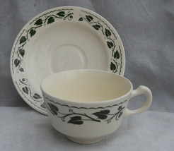 3 HOMER LAUGHLIN SYLVAN COFFEE CUP SAUCER SETS GREEN IVY LEAVES BRITTANY... - $15.98