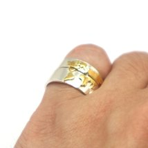 Gold Over Silver World Map Ring image 3