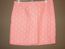 Women's GAP off white skirt neon pink print skirt-8 - $12.70