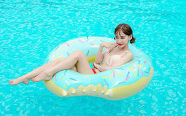 Swim About Large Donut Swim Ring Tube Pool Inflatable Floats for Adults (Mint) image 5