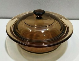 Vintage Visions 24oz Amber Casserole Bowl Dish with glass Lid, V-30-B  Corning  - $17.73