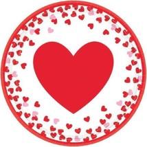 Confetti Hearts Valentines Day 8 Ct  7 in Paper Cake Dessert Plates - $2.69