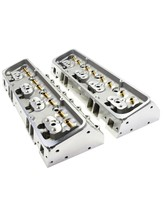 SBC Small Block Chevy GM Straight Plug Aluminum Cylinder Head Set 64cc 2.02/1.60