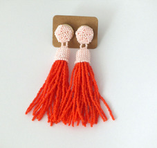 Pink Orange Beaded Tassel Earrings Drop Statement Women Fringe Clip-on Earrings - $28.00+