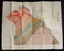 1878 antique foldout YORK County PA GEOLOGICAL MAP color mines  - $87.95