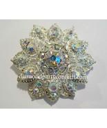 Rhinestone Crystal AB Wedding Cake Brooch Flower Bouquet Pin - $8.86