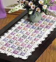 Z478 Crochet PATTERN ONLY Dappled Blossoms Exquisite Table Runner Pattern - $7.50