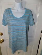 Lularoe Classic Blue/Gray/White Striped Shirt  Size S Women's  NWOT - $20.28