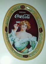 Vintage 1973 Small Oval Coca Cola Lady Tin Tip Tray 1906 Advertising Change Tray - $6.44