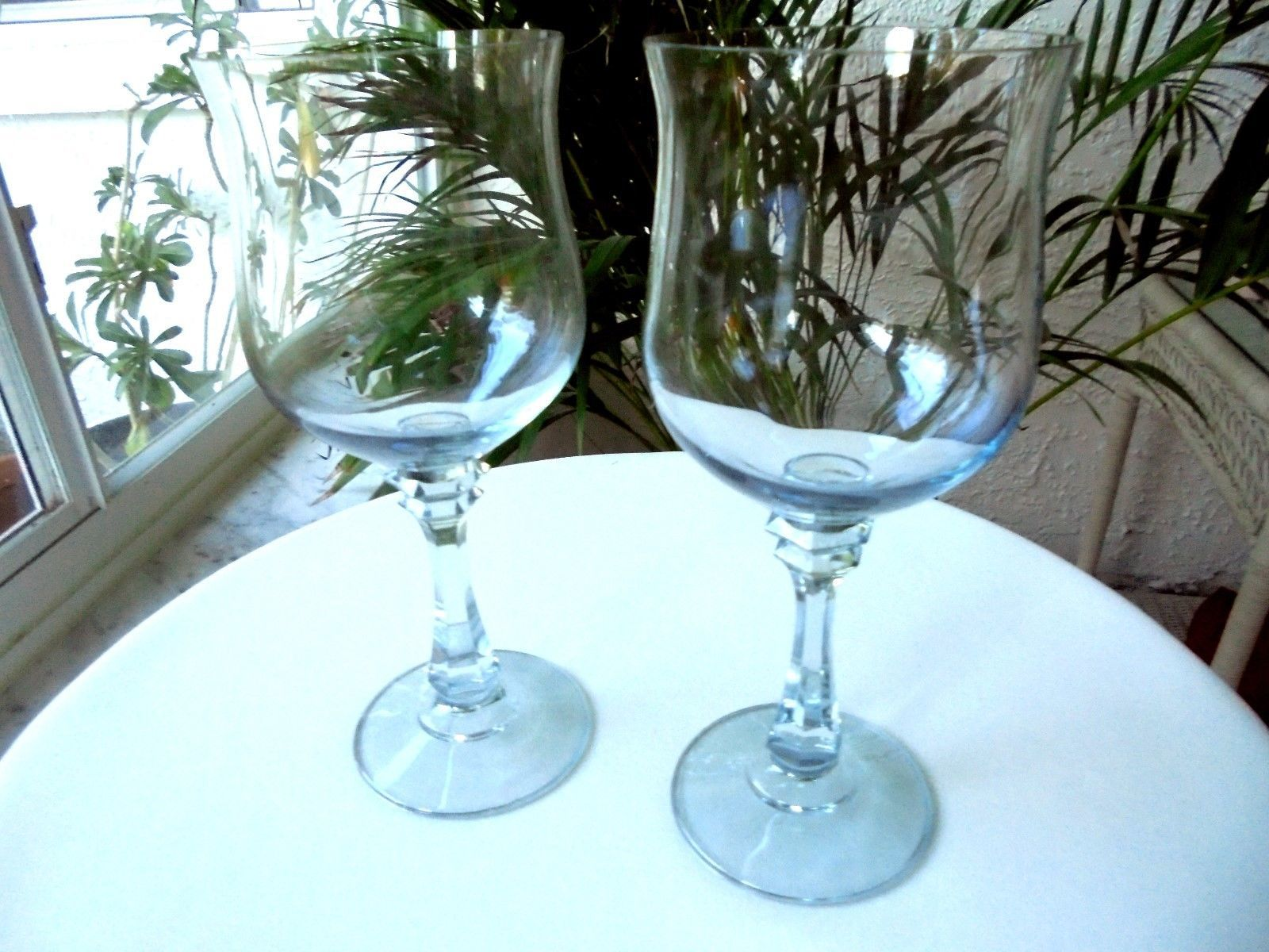 Set of 2 American Stemware Princeton Blue Crystal Water Goblets