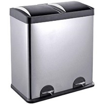 Stainless Steel Recycle Bin Trash Can Storage 16 Gallon Pedals Home Garb... - $149.38