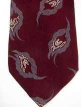 VINTAGE Giorgio Armani Burgundy Red With Gray Smoke Silk Tie Made in Italy - $21.37