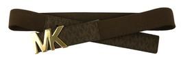 Michael Kors Women's Mk Logo Premium Faux Leather Canvas Belt Brown 551510 image 2