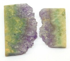 Amethyst Slice Natural Loose Gemstone Cabochon Lot Purple 87Cts. 2Pcs 25332 - $10.39