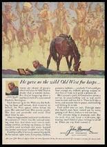 Frederic Remington Paints 1959 Western Art Hancock Ad - $9.99