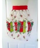 Vintage Christmas Noel Half Apron Pockets Holiday Linen Red Trim - $9.89