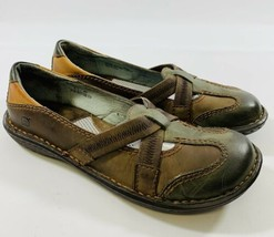 Born Womens size 8.5 Brown Green Leather Slip On Flats Casual Shoes - $27.76