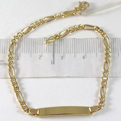 Pulsera de Oro Amarillo 750 18 CT, Bordillo y Ovales, Placa para Grabado, 18 CM