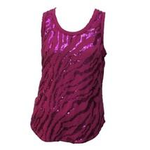 Ariat Womens Magenta Pink Sequin Print Scoop Neck Sleeveless Tank Top Sz M - $18.81
