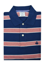 Brooks Brothers Mens Blue Pink Striped Slim Fit Cotton Polo Shirt Small S 3122-7 - $50.48