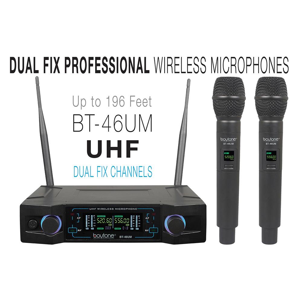Boytone BT-46UM UHF Digital Channel Wireless Microphone System  Dual Fixed Frequ