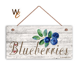 "Blueberries Sign, Rustic Style Garden Sign,  5"" x 10"" Wood Fruit Sign, K... - $11.39"