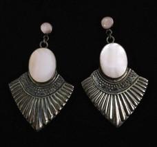 Vintage 925 Sterling Silver Real Mother-Of-Pearl Earrings - $19.95
