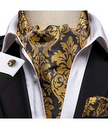 Dubulle Men Silk Suit Black and Gold Floral Ascot Woven Cravat Ties Pock... - $15.55