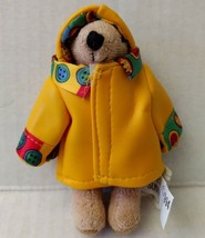 Ganz Sunny 90s Mini Teddy Bear Jointed Plush Yellow Raincoat Hat Buttons... - $17.99