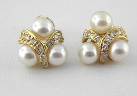 Freshwater Cultured Pearl & Diamond Stud Earrings in 14k Yellow Gold (Dt... - $329.28