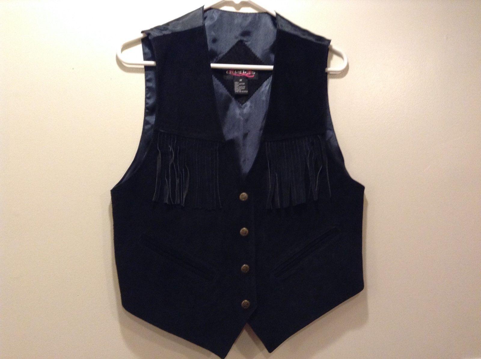 Quarters Black Suede Vest w Western Fringe Sz M