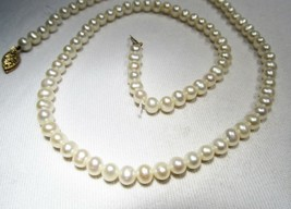 """4.7mm Pearl Necklace w/ 14K Yellow Gold Filigree Clasp FIC 18"""" Necklace C2679 - $27.96"""