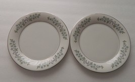 Castleton China USA Two Salad Plates Forever After pattern White w/ Blue... - $9.89