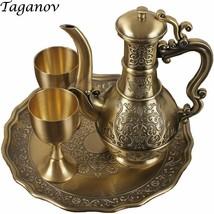 Four-piece Bar Set Russia Bronze wine set gold Red copper Men's gift gob... - $318.00